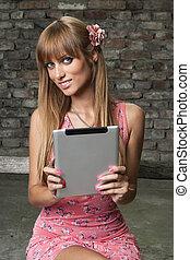 Using digital tablet in old town