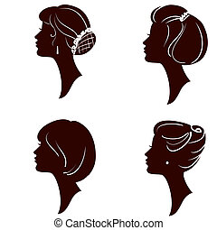 beautiful women and girl silhouettes with different...