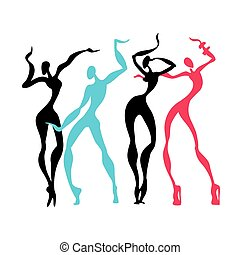 Beautiful women. Dancing silhouettes.