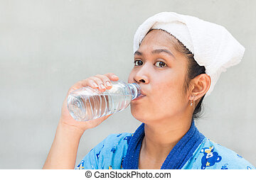 beautiful women drinking water