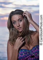 Beautiful women during florida sunrise