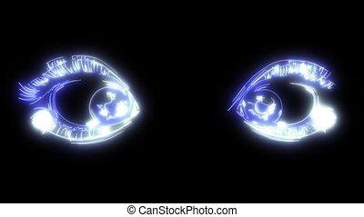Beautiful Women Eyes with make up laser animation -...