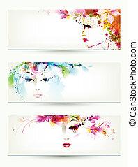 three headers - Beautiful women faces on three headers
