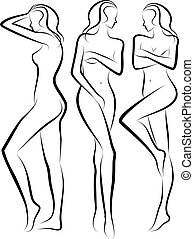 beautiful women - female body silhouettes, vector sketch