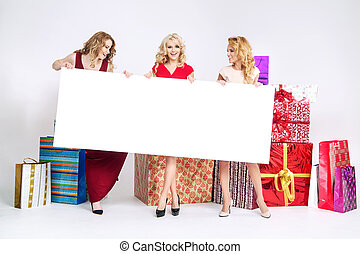 Beautiful women holding white board