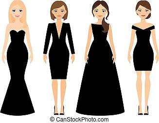 Beautiful women in black dresses