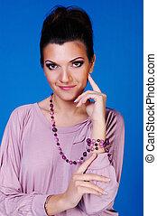 Beautiful women in lilac dress