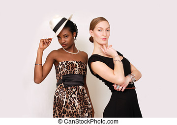 Beautiful women in retro fashion