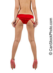 beautiful women legs and big butt in red underware
