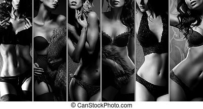 Beautiful women posing in underwear. Black and white...