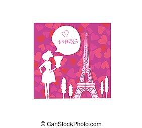 Beautiful women Shopping in Paris card
