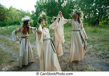 Beautiful women with flower wreath