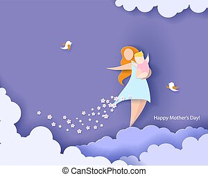 Happy mothers day card. Paper cut style. - Beautiful women ...