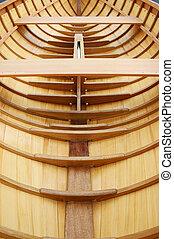 Beautiful wooden boat under construction - Carvel-built...