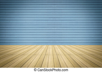 wooden floor with a blue wooden wall