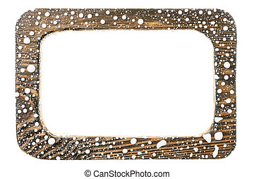 Beautiful wooden frame in drops of white paint. Isolated on white background.