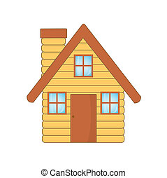 beautiful wooden house, vector illustration