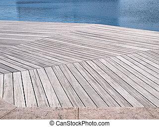 Beautiful wooden jetty dock deck