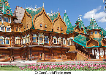 Beautiful wooden palace in Kolomenskoe - Moscow. Wooden...