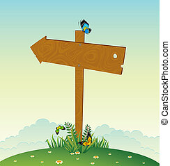 wooden pointer with flowers