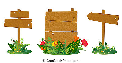 beautiful wooden pointers with flowers are isolated on the white