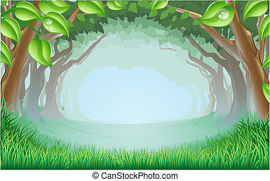 A beautiful woodland scene with trees and grass and space in the centre