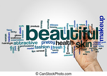 Beautiful word cloud concept on grey background