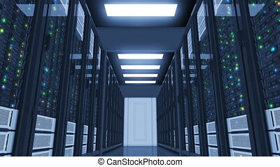 Beautiful Working Servers in Modern Datacenter. Moving Through. Cloud Computing Data Storage. Complex Calculations. Looped 3d animation. 4k UHD 3840x2160.