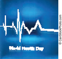 Beautiful World health day concept with beats line medical blue colorful background