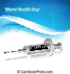 Beautiful world health day syringe reflection medical symbol colorful background