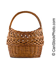 Beautiful woven basket for picnic isolated over white