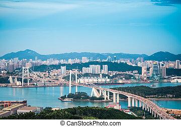 xiamen haicang bridge in nightfall