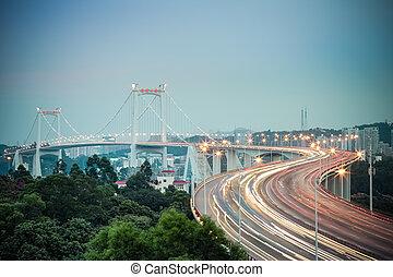 beautiful xiamen haicang bridge in nightfall ,fujian...