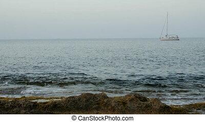 Beautiful yacht at open sea. No sail