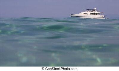 Beautiful yacht sailing in the Aegean Sea.