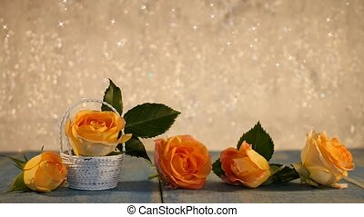 beautiful yellow roses on a shiny background
