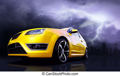 Beautiful yellow sport car on road and lightning in city