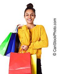 Beautiful young african american shopper