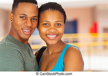young african couple in college