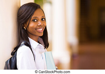 young african female college student close up
