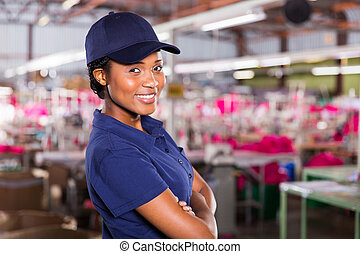 young african female textile worker