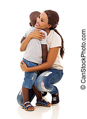 young african woman hugging her son