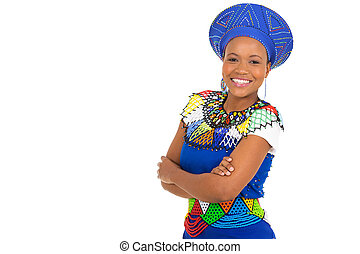 young african woman with arms crossed
