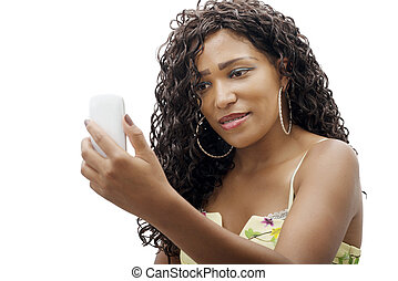 beautiful young african woman with cell phone