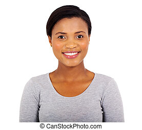 young afro american woman close up