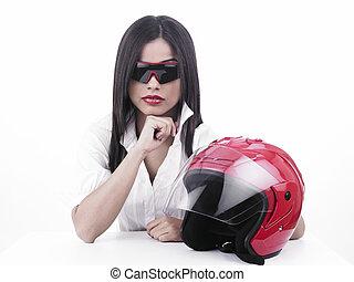 asian biker girl with a helmet