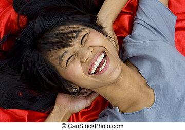 beautiful, young asian laughing