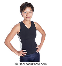 Beautiful young Asian woman athlete, on white background