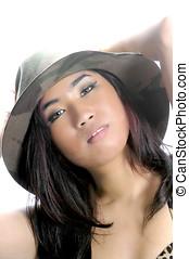 Beautiful young asian woman in closeup