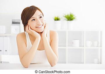 beautiful Young  asian woman looking